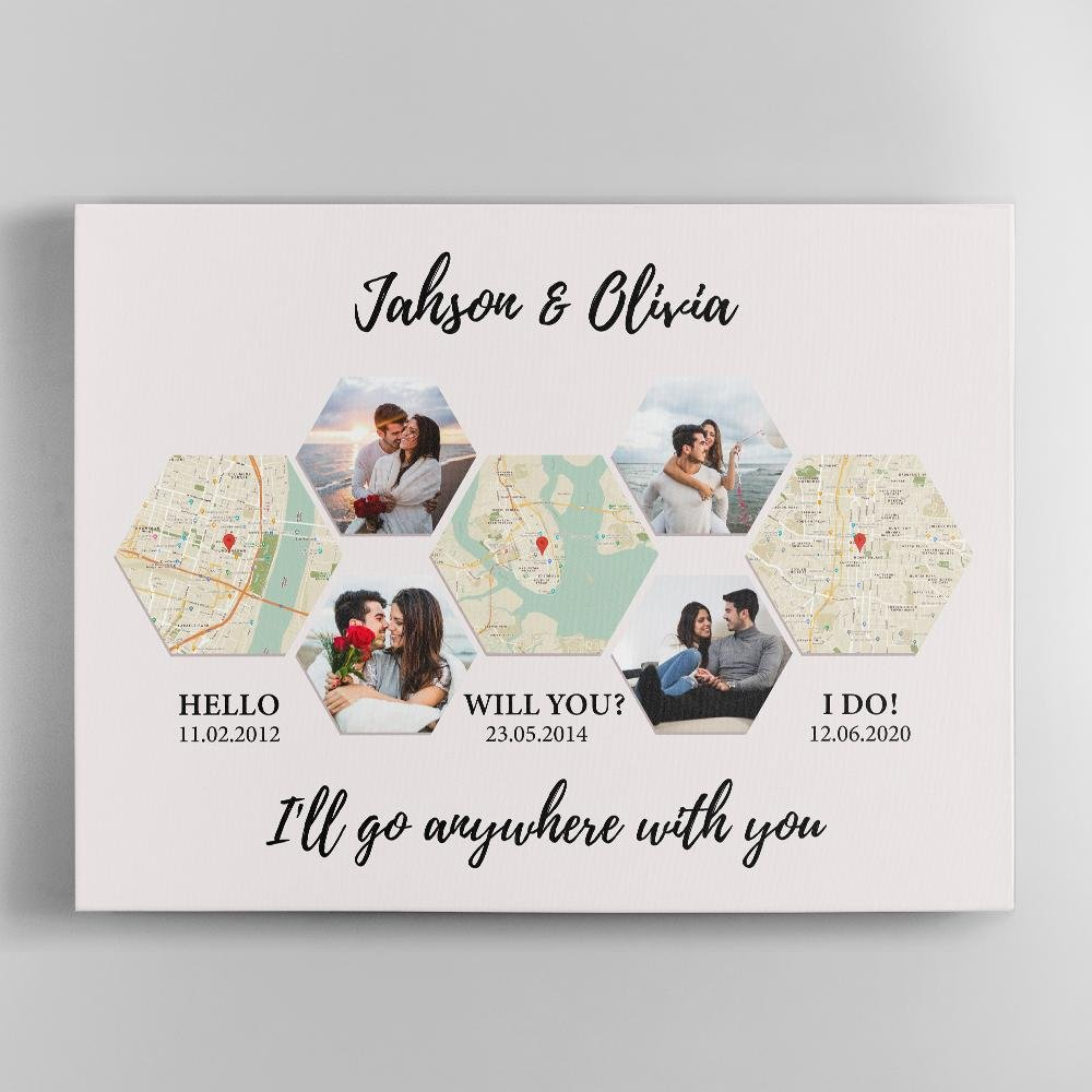 For your other half, a love story wall art is a brilliant surprise. This custom map gift allows you to show unforgettable pictures and commemorate any location in your relationship history - where you met, when he popped the question, or the I-do moment. Design yours to spread happiness throughout the house.