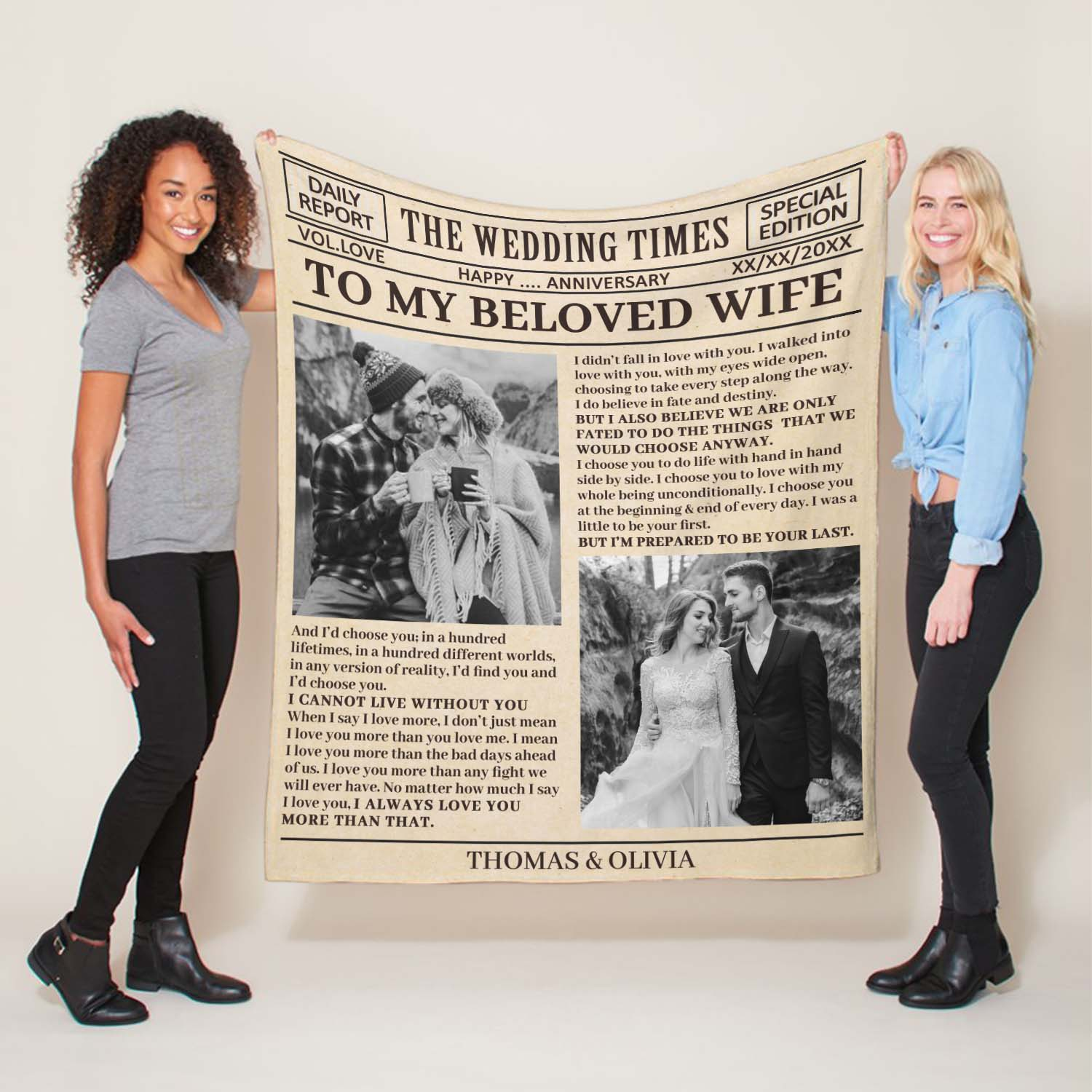 You want something to remind her that you love her every day. Get her a notebook handwritten love letter or message custom sherpa blanket. It will show her that you put your heart into this gift for the anniversary. Every time she pulls the blanket up, it will warm her gently with your love letter.