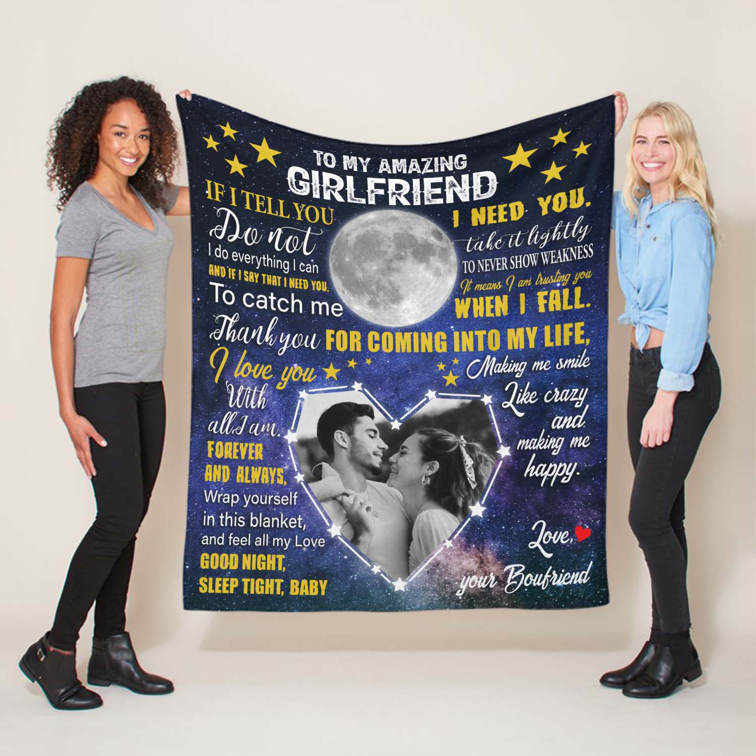 If you're looking for something extra romantic and sentimental for your lover, this custom letter blanket is a great gift idea. With deep love messages for her, your present can warm her body and her heart.