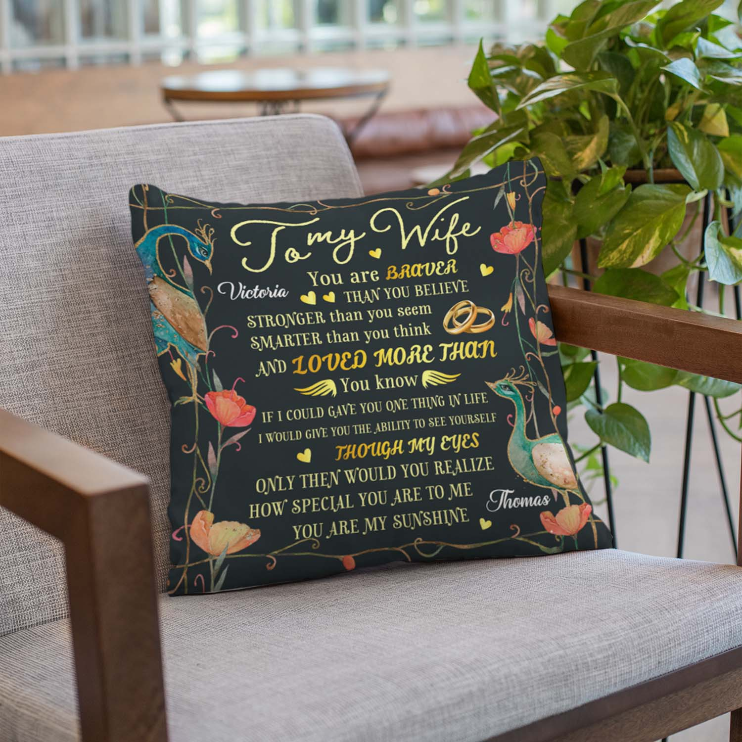To My Wife Custom Throw Pillow Personalized With Name Like A Sweet Letter To Wife