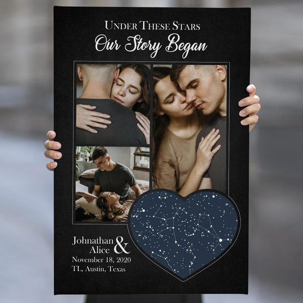 Under These Stars, Our Story Began Custom Night Sky, Photo And Text Canvas