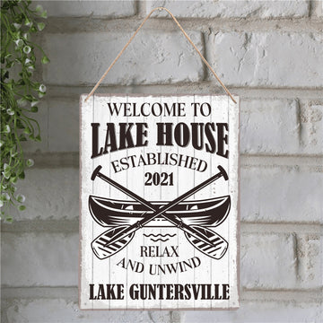 Welcome To Lake House Relax And Unwind, Custom Metal Sign