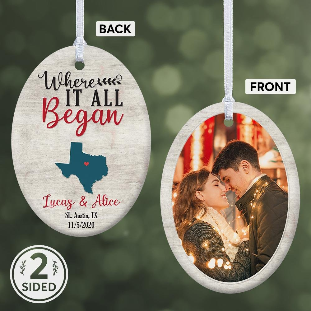 Create a small piece of two-sided ornament with your stunning photo and anniversary date. Interestingly, you are offered to choose your state where your home is located, and your state shape will be shown on the back of the ornament.