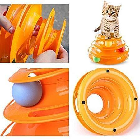 Three Layer Colorful Cat Track Tower Toy