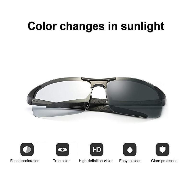 Intelligent photochromic polarized sunglasses 100% UV protection