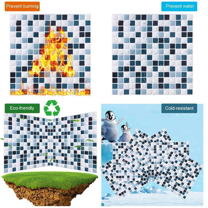 3D Mosaic Tile Self-adhesive Stickers, 4pcs