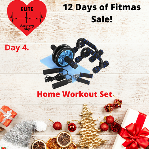 Workout set including ab roller pushup bar jump rope, christmas fitness sale