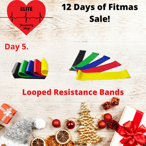 Looped Resistance Bands inside a Christmas border for fitness sale