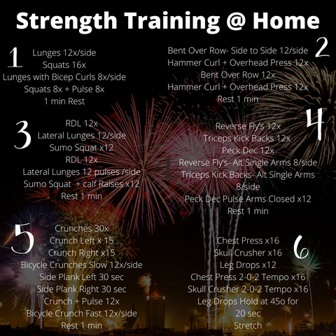 Strength Training Home workout.  6sets of strength training exercises on a new years fireworks background