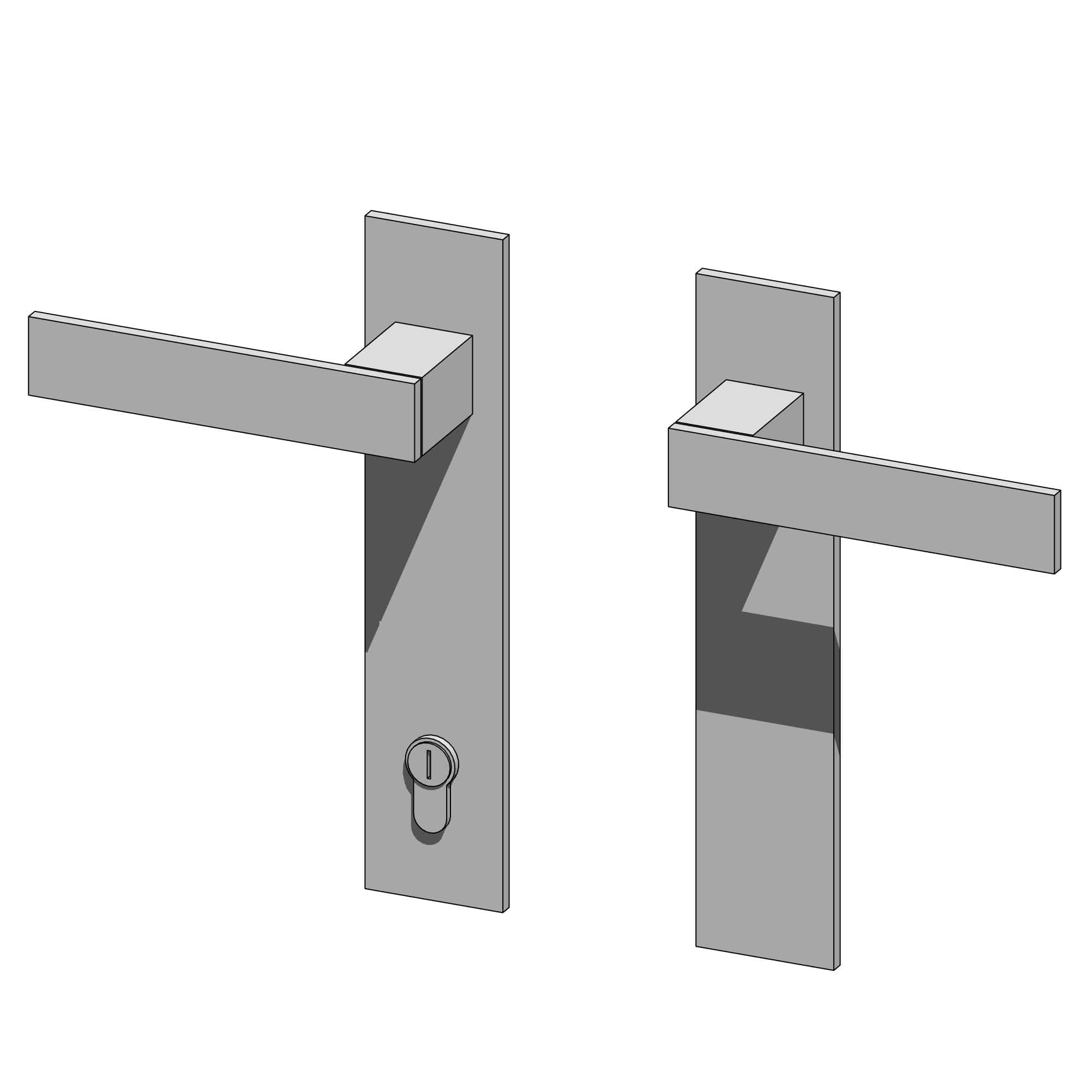 RevitHQ Door Hardware Modern Handle and Lock