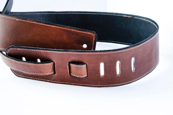 Brown & Black Reversible Guitar Strap - Moody's Leather Co.