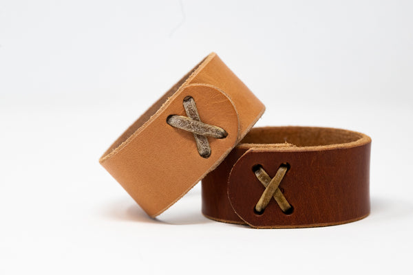 Wide Rawhide Stitched Cuff - Moody's Leather Co.