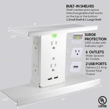 Load image into Gallery viewer, Socket Shelf- 8 Port Surge Protector Wall Outlet