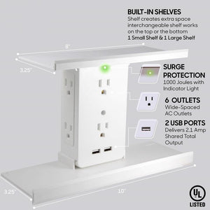Socket Shelf- 8 Port Surge Protector Wall Outlet