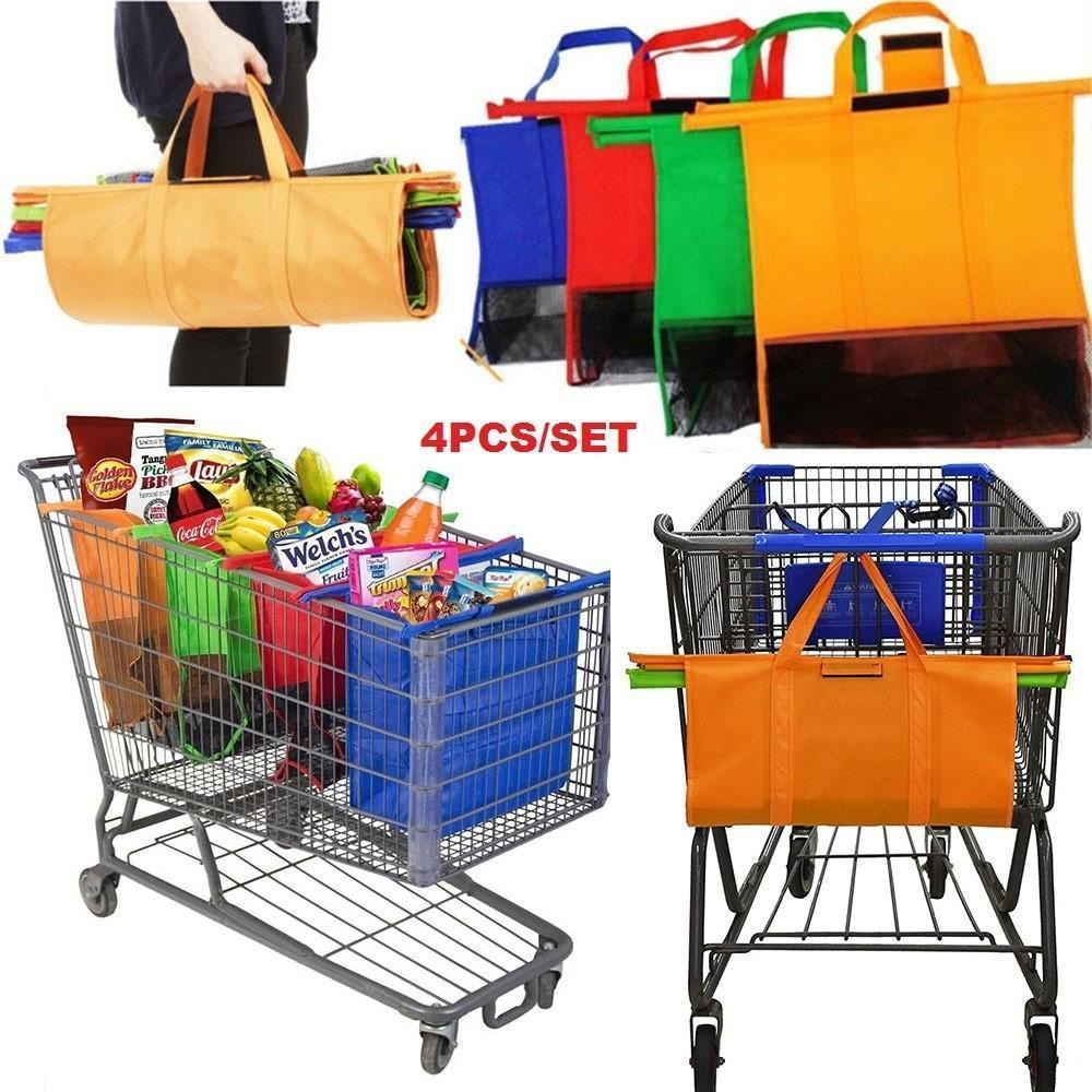 4PCS  Shopping Trolley Bags,Foldable Cart Folding Grocery Reusable Supermarket Carry Bag - CozyBuy