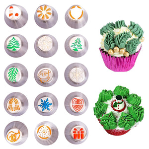 Inspire Uplift Russian Icing Piping Tips Christmas Design Nozzles 15pcs Russian Icing Piping Tips Christmas Design Nozzles