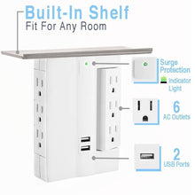 Load image into Gallery viewer, On-Wall Swivel Surge Protector with 6 AC Outlets and 2 USB Ports