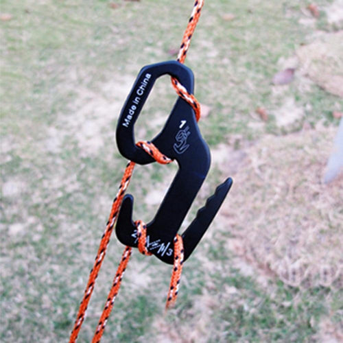 Small Aluminum Rope Tightening Mechanism With Carabiner Clip
