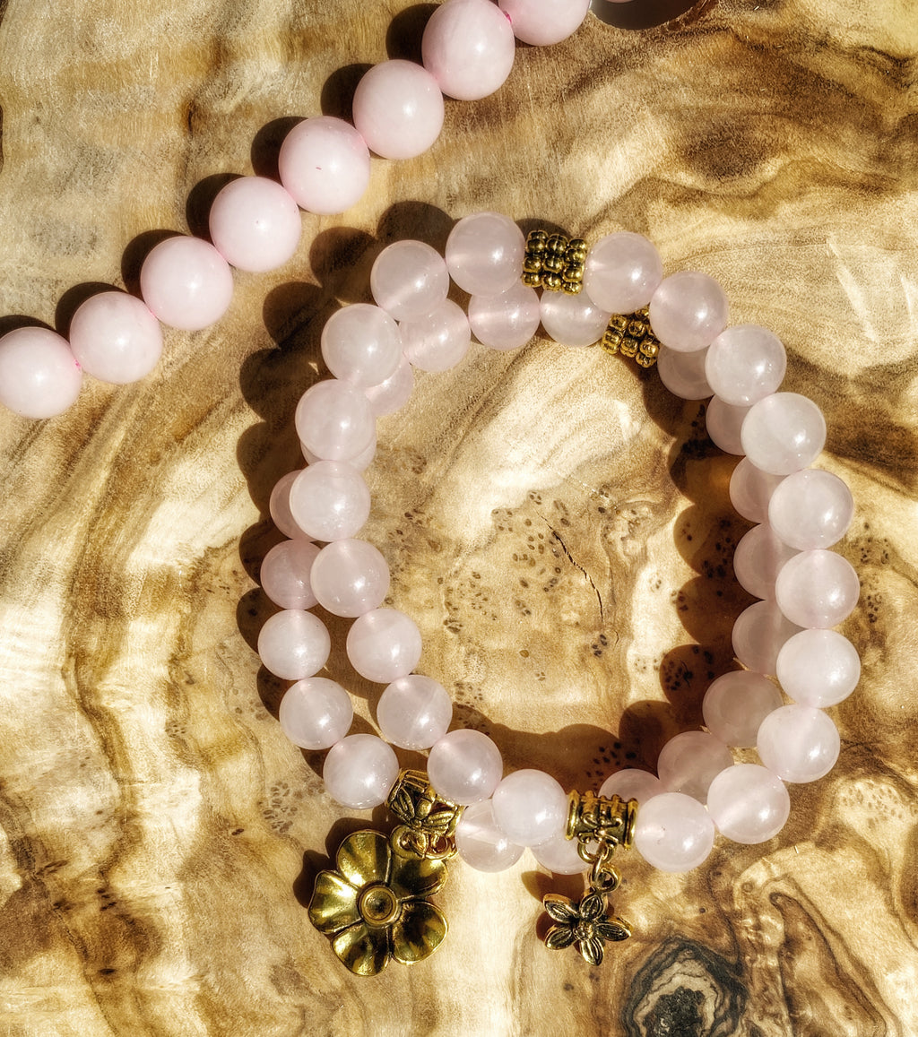 Rose Quartz with Gold Charm Beaded Bracelet