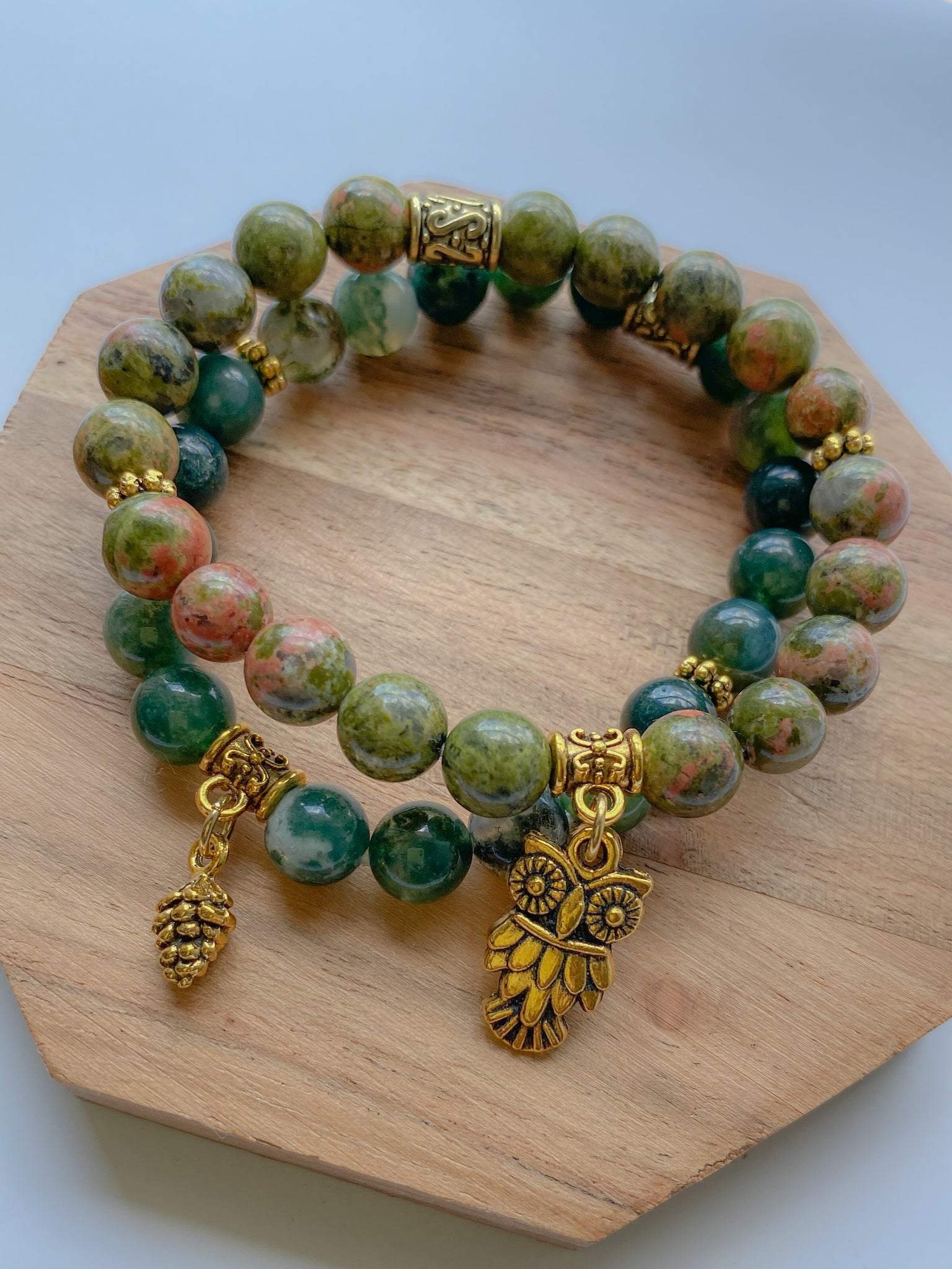 Green Moss Agate & Unakite Sets