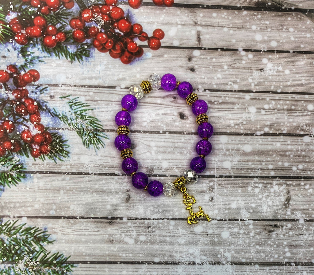 Purple Glass & Gold Reindeer Bracelet