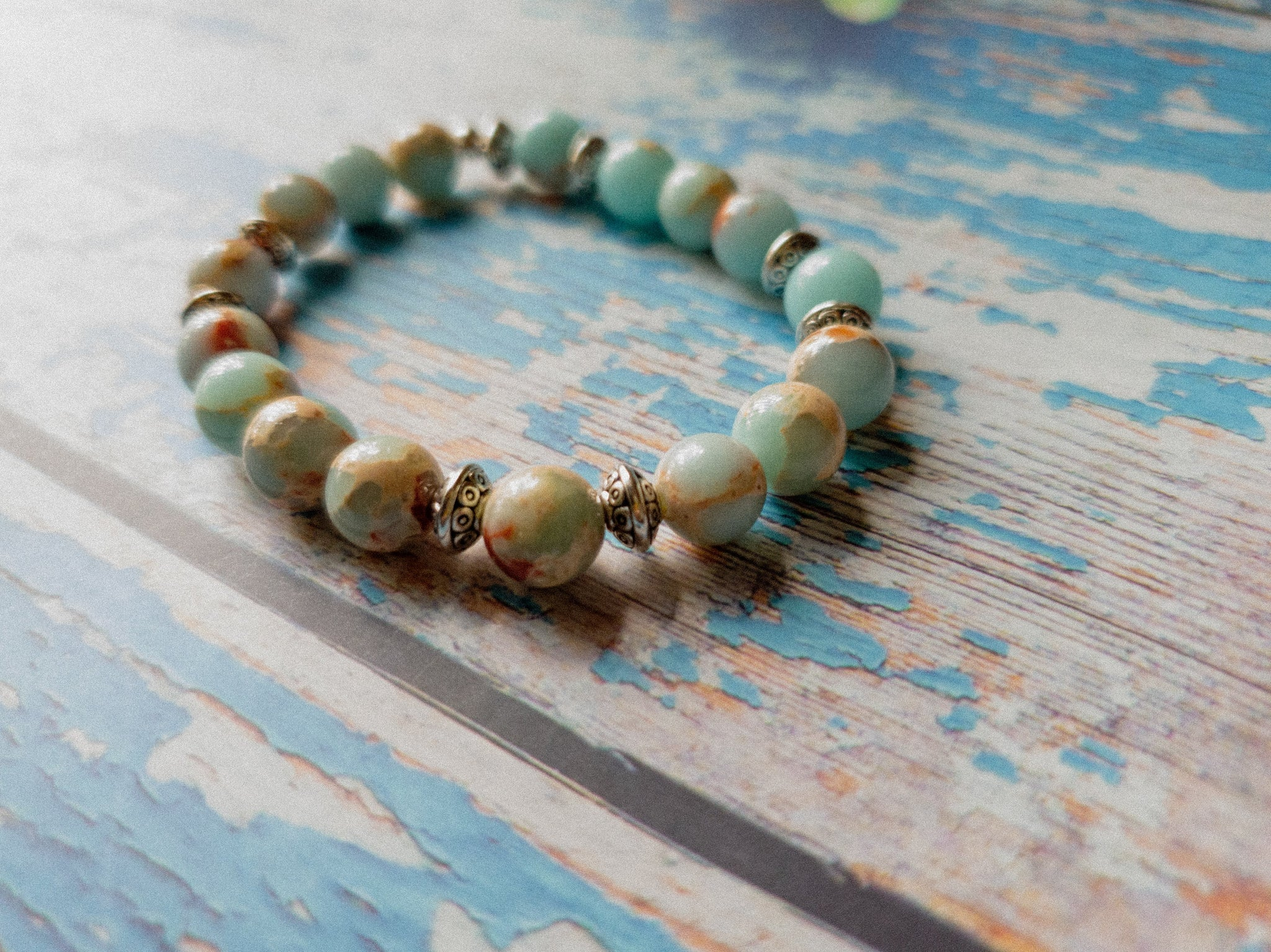 Blue Imperial Jasper Beaded Bracelet