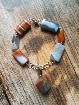 Orange & Grey Agate Beaded Bracelet