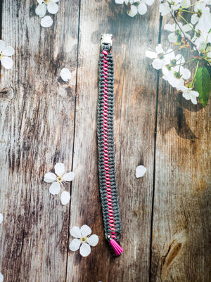Triple Hitch Braid Dog Collars Spotted Black & Neon Pink