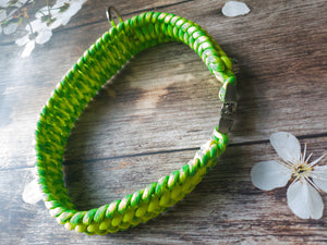 Trilobite Dog Collar Lime green & Neon Yellow