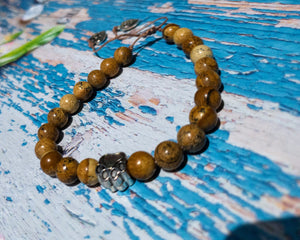 Brown Picture Jasper Unisex Bracelet