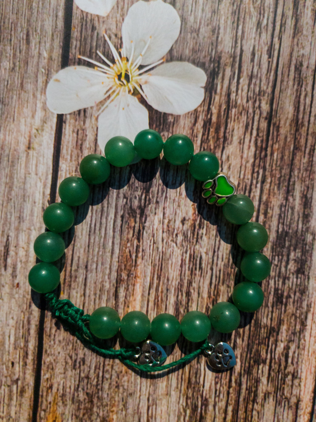 I Love My Dog, Green Aventurine adjustable unisex bracelet