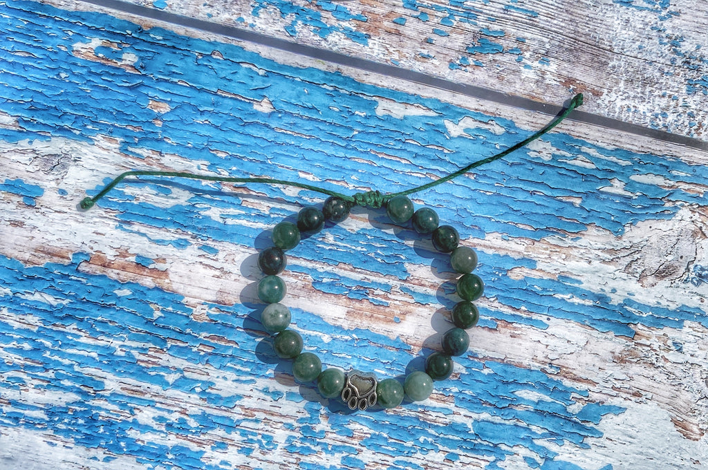I Love My Dog, Natural Moss Agate adjustable bracelet