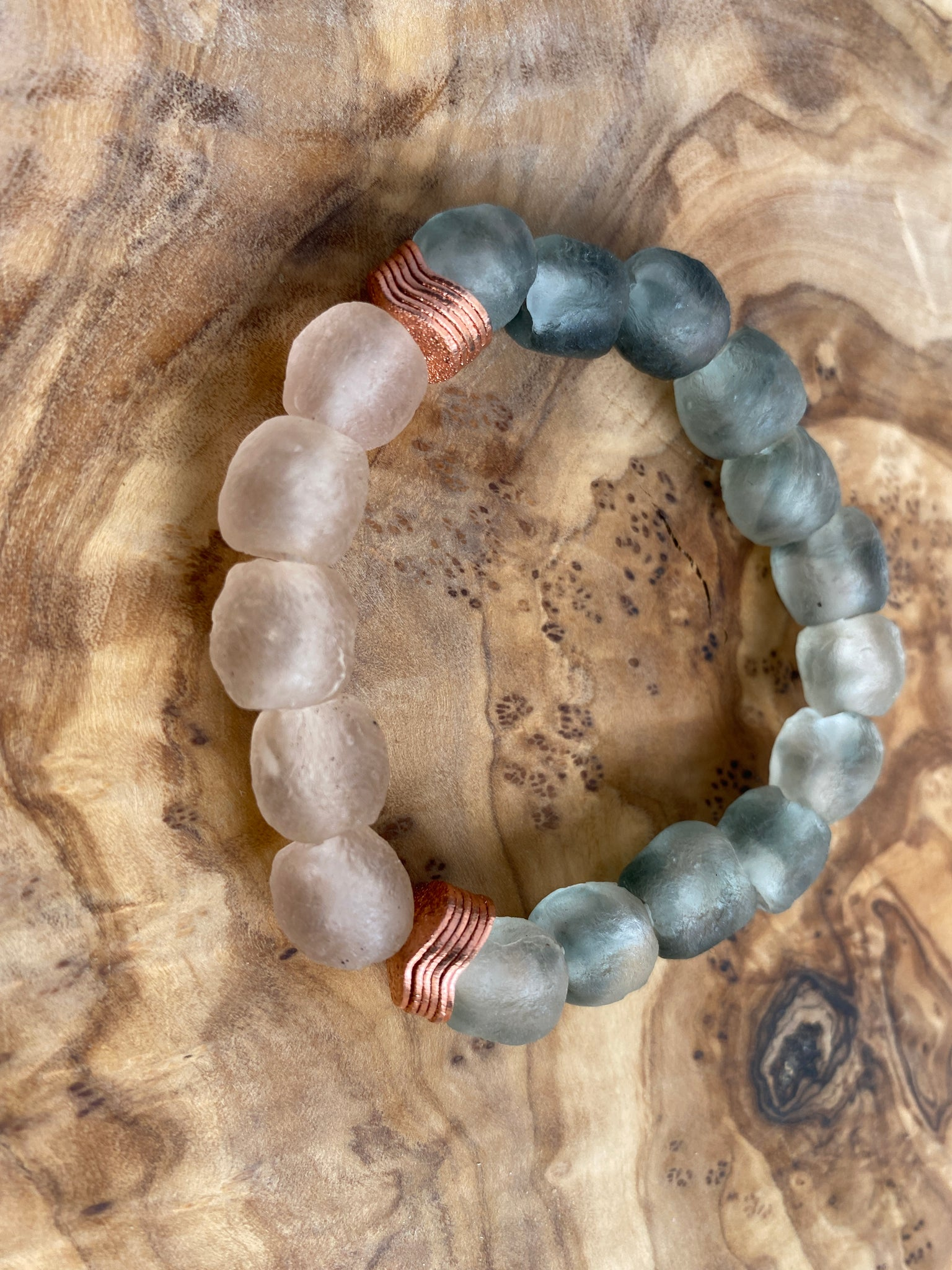 Recycled Glass & Copper Bracelet (Pink & Gray)