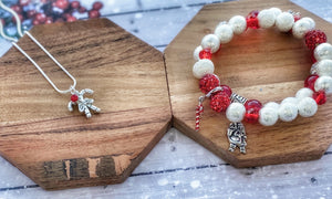 Stardust & Red Holiday Stackable Bracelets
