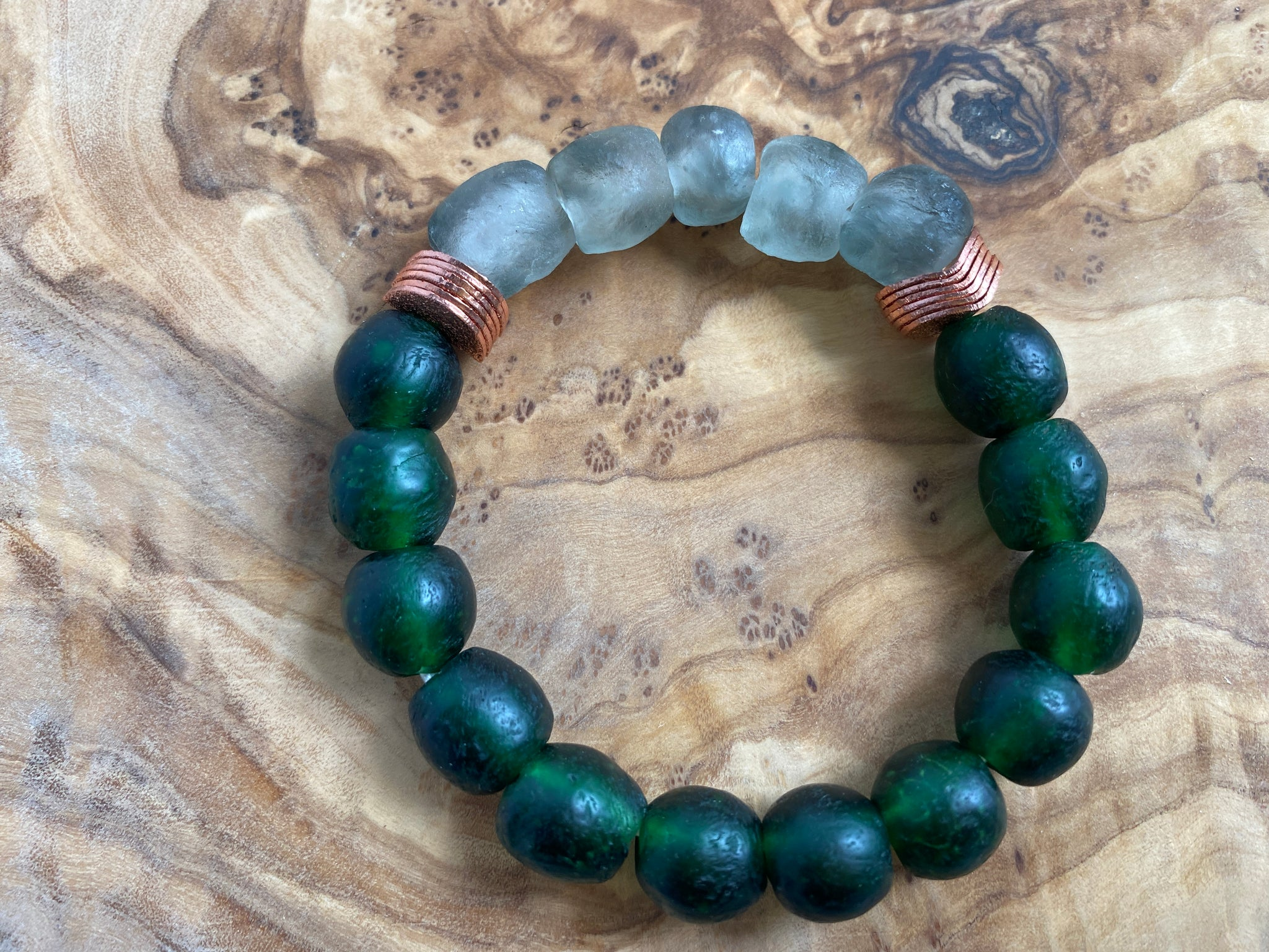 Recycled Glass & Copper Bracelet (Emerald & Gray)