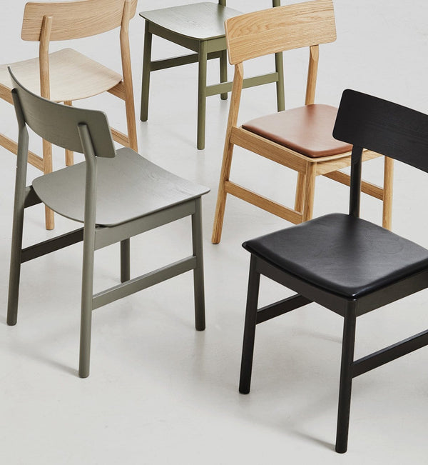 WOUD Spisebordsstol, Pause Dining Chair 2.0, Ask & Læder, Sort