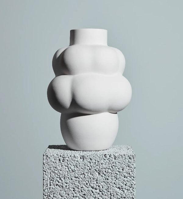 Louise Roe Balloon Vase 04, Keramik, Raw White - Ø24 H32