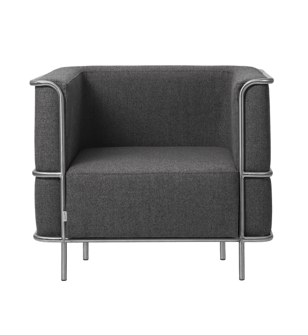 Kristina Dam Lænestol, Modernist Lounge Chair, Grey Wool - 77x87xH70