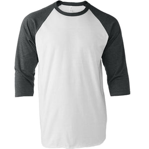 Tultex 245 White/Heather Charcoal Raglan