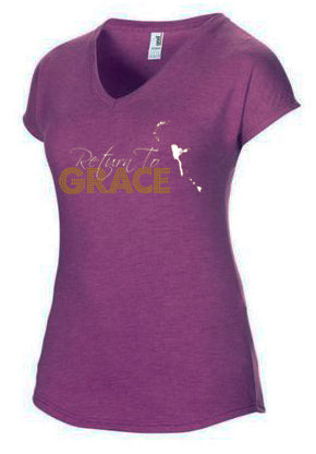 Purple Heather Logo Girl V-Neck