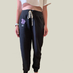 Purple Flower Black Yoga Pants