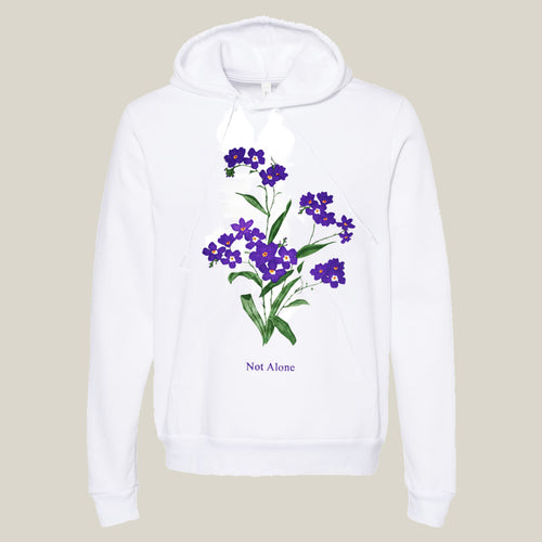 Purple Flower White Hoodie