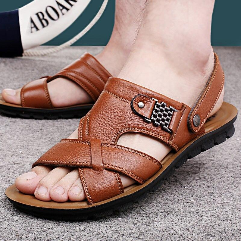 Men shoeshot fashion hand sewing sandals men breathable beach flip flops summer shoes men sandalias hombre