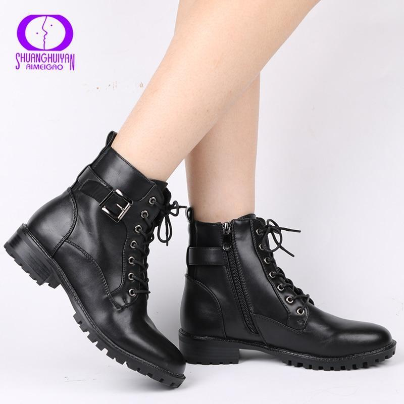 AIMEIGAO Free shipping Lace-up Black Ankle Boots Women Autumn Winter Zipper Low Heels Boots Women Buckle Strap Motorcycle Boots Waterproof
