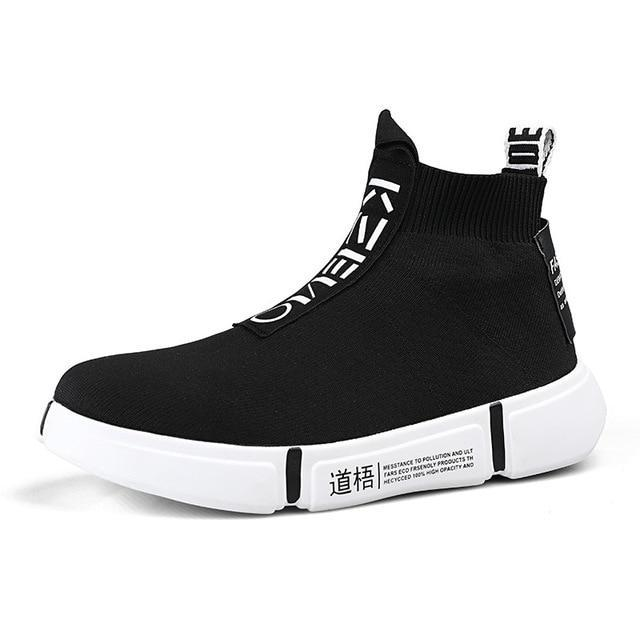 Fashion High Top Casual Shoes Men Breathable Flats Men's Casual Slip-On Platform Shoes Men Sock Walking Footwear Man