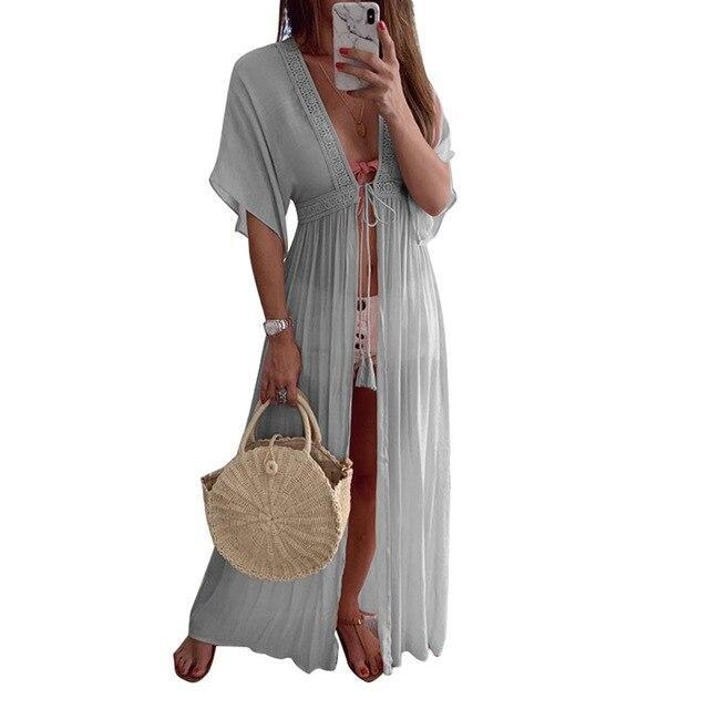 Free shipping Boho Women Lace Cardigan Kimono Long Sleeve Holiday Beach Chiffon Dress Cover Cape Dresses