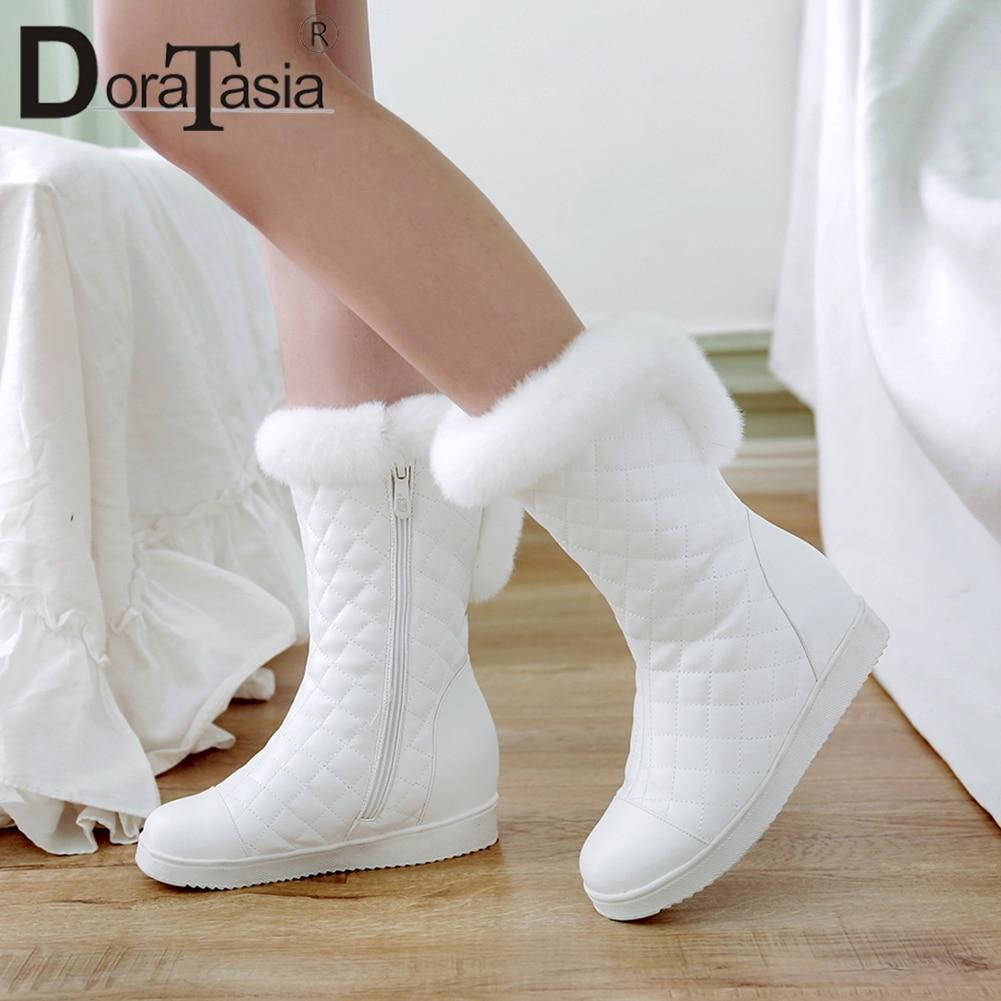 DoraTasia New Popular Women Snow Boots Ladies Increased Heels Winter Boots Women White Warm Fur Platform Shoes Woman