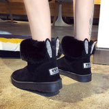 Jrnnorv  Women Winter Snow Boots Warm Ankle Boots Cute Rabbit Black Casual Shoes Woman Booties Plush With Fur