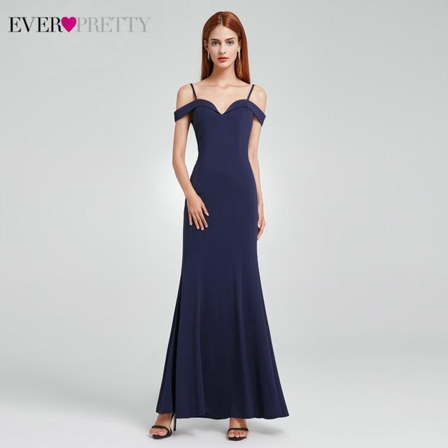 Elegant Mermaid Evening Dresses Long Ever Pretty Spaghetti Straps V-Neck Cheap Evening Gowns For Party