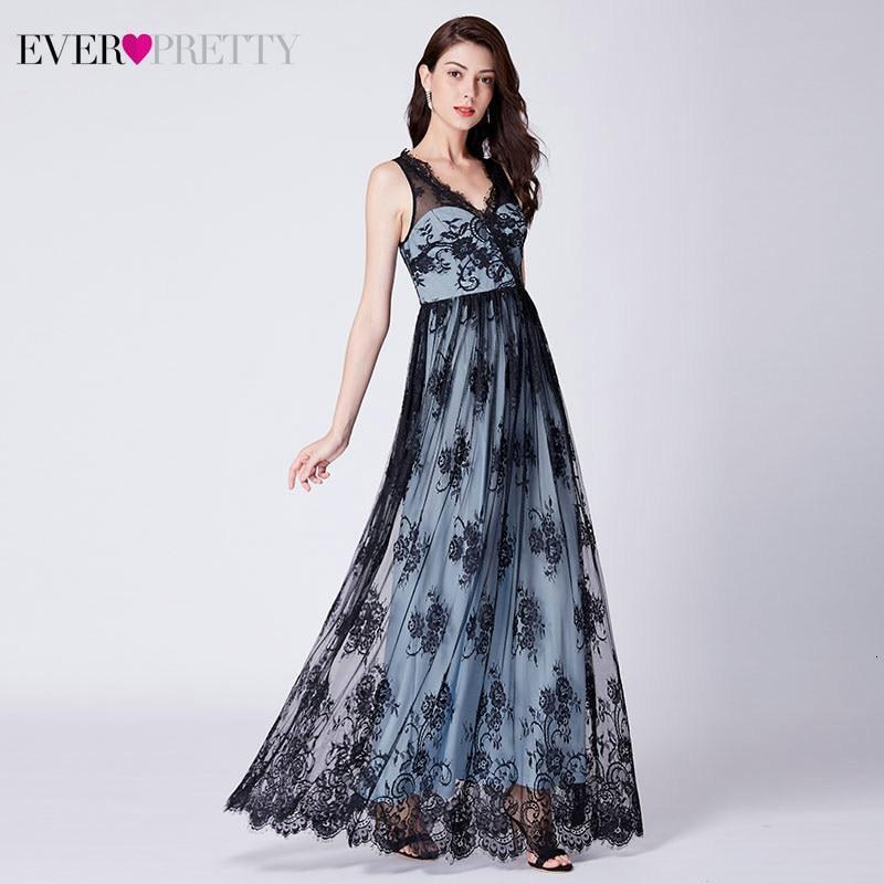 Robe De Soiree Elegant Lace Evening Dresses Long Ever Pretty A-Line V-Neck Sleevless Illusion Party Gowns Vestidos